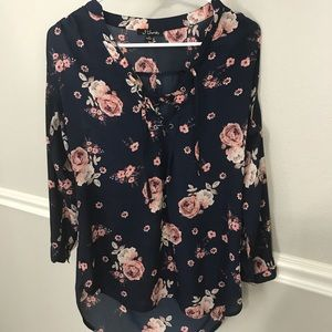 Sheer long sleeve blouse with rose pattern.